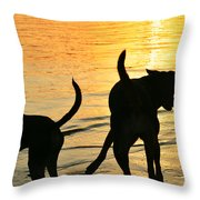 Sunset Dogs  Throw Pillow by Laura Fasulo