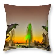 Sunset Dolphins Throw Pillow