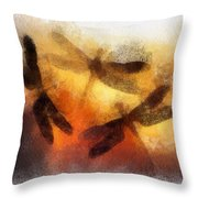 Sunset Dragonflies Throw Pillow