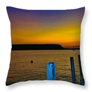 Sunset From Andersons Dock Throw Pillow