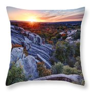 Sunset From The Top Of Little Rock At Enchanted Rock State Park - Fredericksburg Texas Hill Country Throw Pillow