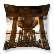 Sunset From Under The Pier Throw Pillow