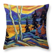Sunset Geo Landscape Original Oil Painting By Prankearts Throw Pillow