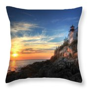 Sunset Glow At Bass Harbor Throw Pillow