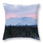 Sunset Glow Behind Winterly Little Peak Yt Canada Throw Pillow