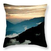 Sunset Himalayas Mountain Nepal Panaramic View Throw Pillow
