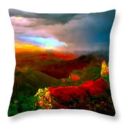 Sunset Imperial Peak North Grand Canyon Panorama Throw Pillow