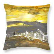 Sunset In Benidorm Throw Pillow