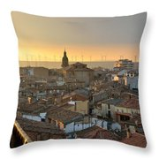 Sunset In Calahorra From The Bell Tower Of Saint Andrew Church Throw Pillow