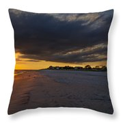 Sunset In Cape May Along The Beach Throw Pillow