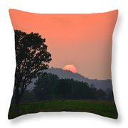 Sunset In Countryside Throw Pillow