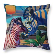 Sunset In Ngoro Ngoro Throw Pillow