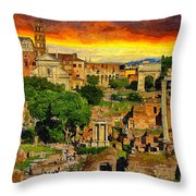 Sunset In Rome Throw Pillow by Stefano Senise