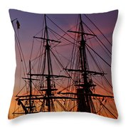 Sunset In San Diego Harbor Throw Pillow