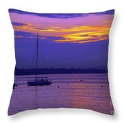 Sunset In Skerries Harbor Throw Pillow