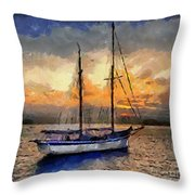 Sunset In The Bay Throw Pillow