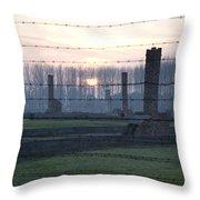 Sunset In The Former Death Camp Auschwitz Birkenau Poland Throw Pillow