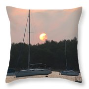Sunset In The Port Throw Pillow