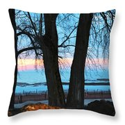 Sunset In The Trees Throw Pillow
