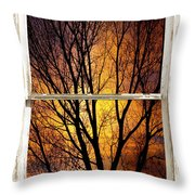Sunset Into The Night Window View 3 Throw Pillow