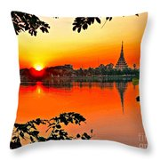 Sunset Leaves Throw Pillow