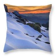 Sunset Light On The Snow Throw Pillow
