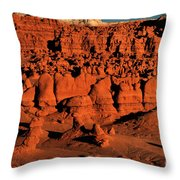 Sunset Light Turns The Hoodoos Blood Red In Goblin Valley State Park Utah Throw Pillow