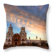 Sunset Majesty Mission San Xavier Del Bac Throw Pillow