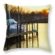 Sunset Marina Throw Pillow