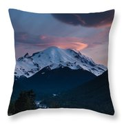 Sunset Mount Rainier Throw Pillow