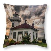 Sunset Mukilteo Lighthouse Throw Pillow