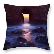 Sunset On Arch Rock In Pfeiffer Beach Big Sur In California. Throw Pillow