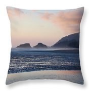 Sunset On Cannon Beach Throw Pillow