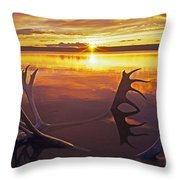 Sunset On Caribou Antlers In Whitefish Lake Throw Pillow