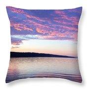 Sunset On Cayuga Lake Cornell Sailing Center Ithaca New York Throw Pillow