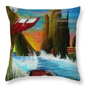 Sunset On Earth Twenty Eight Days After People Throw Pillow