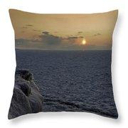 Sunset On Frozen Lake Throw Pillow