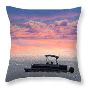 Sunset On Grand Beach Throw Pillow