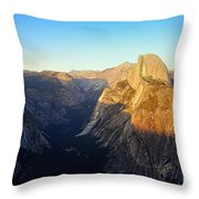 Sunset On Half Dome In Yosemite Throw Pillow