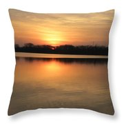 Sunset On Lake Throw Pillow by Cim Paddock