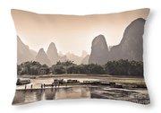 Sunset On Li River Throw Pillow