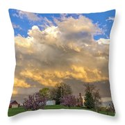 Sunset On Mixed Clouds Throw Pillow