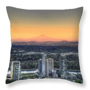 Sunset On Mount Hood Throw Pillow
