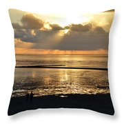 Sunset On North Sea Throw Pillow