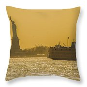 Sunset On Ny Harbor Throw Pillow