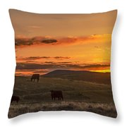 Sunset On Open Range Throw Pillow