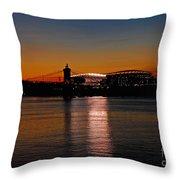 Sunset On Paul Brown Stadium Throw Pillow
