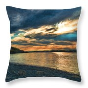 Sunset On Rocky Beach Throw Pillow