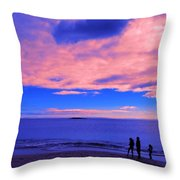 Sunset On Sand Beach Acadia National Park Maine Throw Pillow