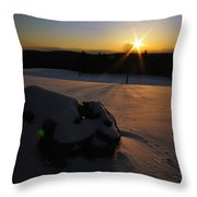 Sunset On Snow Throw Pillow